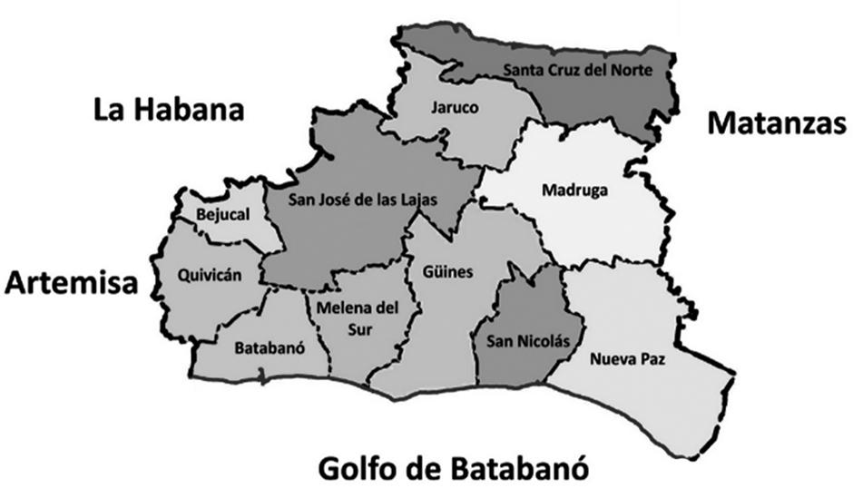 Mapa de mayabeque